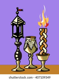 Havdalah set.Silver kiddush wine cup,gold color spice box,braided lit candle.Jewish religious ritual after end of Sabbath.Spice container,traditional tower shape,bell and flag.