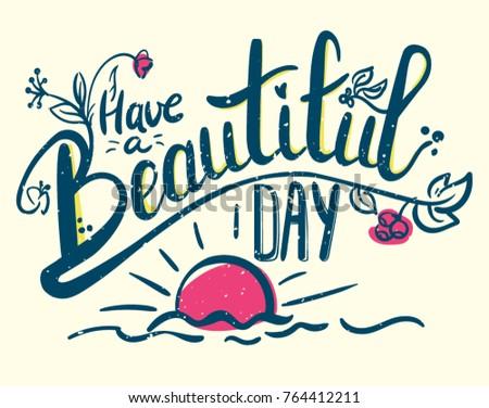 Have Beautiful Day Hand Drawn Color Stockvector Rechtenvrij