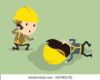 have an emergency, Ask for help, Vector illustration, Safety and accident, Industrial safety cartoon