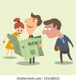 Have a good news! Business people happy and surprise with good news from newspaper. Success concept.