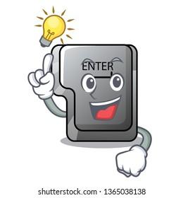 Have an idea enter button installed on computer cartoon