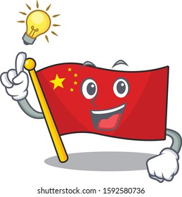 Have an idea flag china Scroll cartoon character design