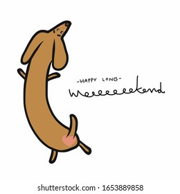 Have a long weekend dachshund cartoon vector illustration doodle style