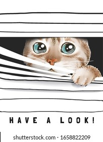 have a look slogan with cute cat peeking through window blinds illustration