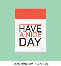 Have a nice day calendar vector postcard
