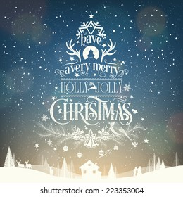 Have A Very Merry Holly Jolly Christmas, Vintage Typographical Background