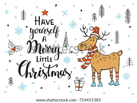 have yourself a merry little christmas handwritten xmas quote on a background with cute deer in