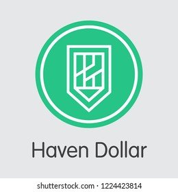 Haven Dollar XUSD . - Vector Icon of Blockchain Cryptocurrency.