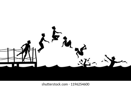 Having summer fun on the beach. Sequence side view of boy jumping into the water from pier.