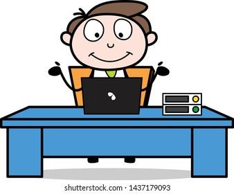 Having Video Chat through Laptop - Office Businessman Employee Cartoon Vector Illustration