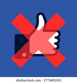 Havirov,  Czechia - July 7, 2020:  Boycott and shutdown of Facebook, social media and social networking site. Symbol of Thumbs-up is crossed out as metaphor of avoidance, ban and block.