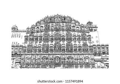 Hawa Mahal is a palace in Jaipur, India. It is constructed of red and pink sandstone. The palace sits on the edge of the City Palace, Jaipur. Hand drawn sketch illustration in vector.