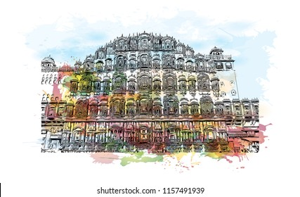 Hawa Mahal is a palace in Jaipur, India. It is constructed of red and pink sandstone.  Watercolor splash Hand drawn sketch illustration in vector.