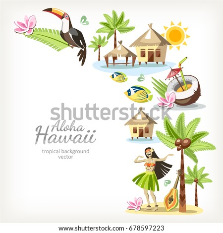 Hawaii Aloha Background Banner Frame With Border Of Traditional Hawaiian Objects Summer Travel Card