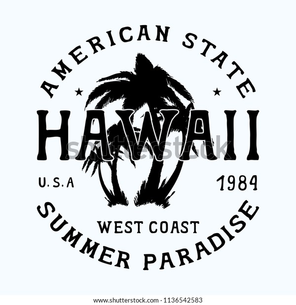 Hawaii Aloha Beach Badge Design Fashion Stock Vector