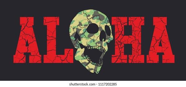 Hawaii Aloha skull graphic design vector art