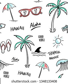 Hawaii, Aloha theme seamless pattern vector illustrations. Palm trees, shark, sunglasses, sun, umbrella, flip flops.