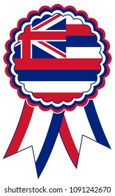 Hawaii Award Ribbon vector in the original national colours red, blue and white. Representing State of Hawaii in USA.