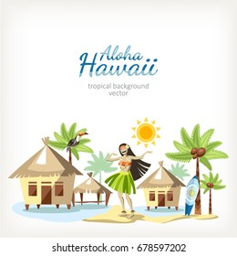 hawaii background panorama with dancing girl hula palms and houses on water bungalow sand ocean sea