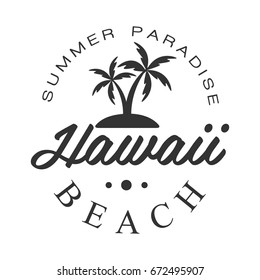 Hawaii beach, summer paradise logo template, black and white vector Illustration
