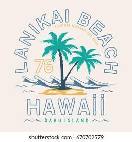 Hawaii beach typography, tee shirt graphics, vectors