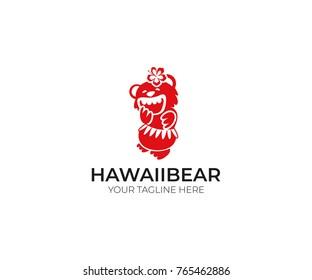 Hawaii Bear Logo Template. Fun Animal Vector Design. Tropical Illustration