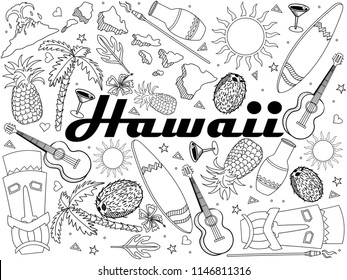 Hawaii coloring book line art design vector illustration. Separate objects. Hand drawn doodle design elements.
