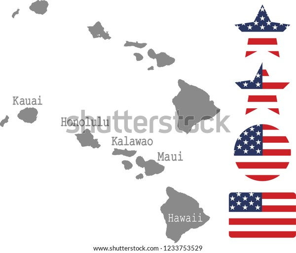 Hawaii County Map Vector Outline Gray Stock Vector (Royalty ...