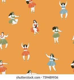 Hawaii dance seamless pattern. Girls playing ukulele and dancing Hula.