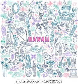 Hawaii doodle set. Traditional Hawaiian culture symbols - food, hula dancers, aloha, surfing, tiki bar and carvings, birds and animals. Hand drawn vector illustration isolated on background.