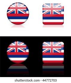 Hawaii Flag Icon on Internet Button Original Vector Illustration AI8 Compatible