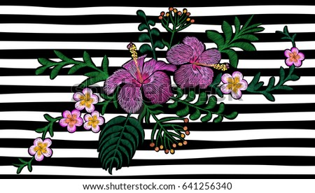Hawaii Flower Embroidery On Black White Stock Vector Royalty Free