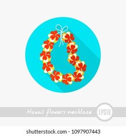 Hawaii flowers necklace, wreath outline vector icon. Beach. Summer. Summertime. Holiday. Vacation, eps 10