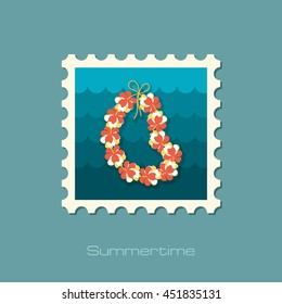Hawaii flowers necklace, wreath stamp. Beach. Summer. Summertime. Holiday. Vacation, eps 10