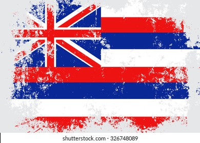 Hawaii grunge,scratch,damaged,old style state flag.