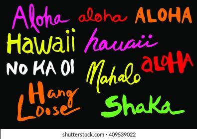 Hawaii Hand drawn Logos