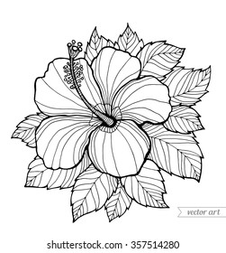 Hawaii hibiscus flower, leaf. Aloha Hawaii vector floral artwork. Coloring book page for adult. Summer bohemia concept for wedding invitation, card, ticket, boutique logo, label, emblem. Black, white