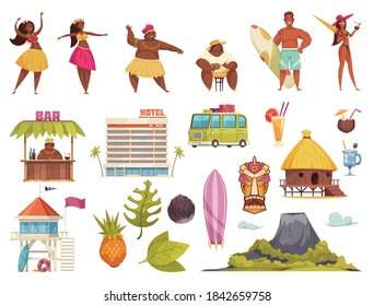 Hawaii icon set with Hawaiian people hotels huts buses surf attributes volcano vector illustration