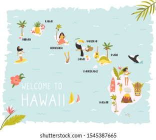 Hawaii illustrated map with animals, nature landmarks, symbols. USA discovery. For books, tourist leaflets, guides, travel posters. different prints