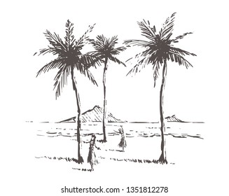 Hawaii island sketch with gils. Hawaii palm beach  hand drawn vintage vector illustration. Isolated on white background.