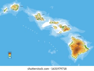 Hawaii islands detailed physical map