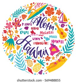 Hawaii Islands map and tourist attractions, symbols and elements - ukulele, hula dancer, surfer, pineapple, sunbathing girl, palm leaves and others. Hand drawn lettering design in circle.