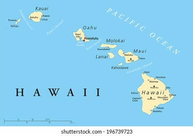 Hawaii Islands Political Map with capital Honolulu, most important cities and volcanoes. Vector illustration with English labeling and scaling.