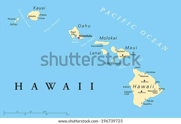 Havaijin Saaret Poliittinen Kartta Paakaupunki Honolulu