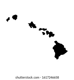 Hawaii Islands - US state. Territory in black color. Vector illustration. EPS 10