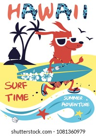 Hawaii Joyful Dog Surfer Template for Poster, Print on T-shirt. Vector illustration.