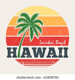Hawaii Lanikai beach tee print with palm tree