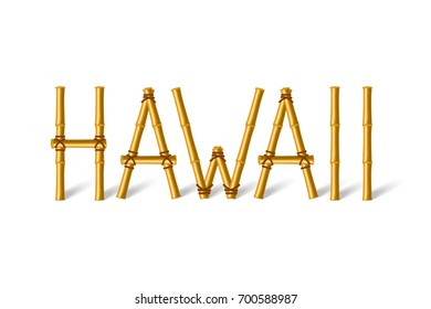 Hawaii lettering made of bamboo sticks tied together with rope and placed on white background.