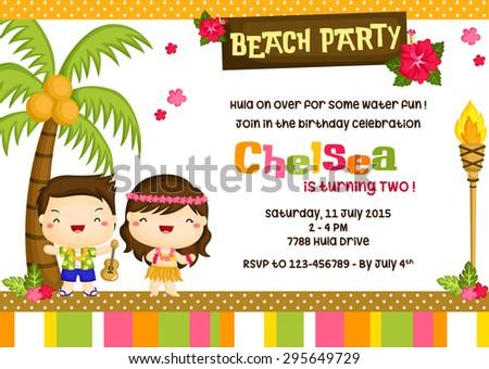 Hawaii Luau Invitation Card Stock Vector Royalty Free 295649729