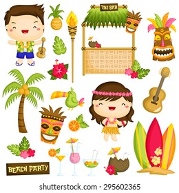Hawaii Luau Kids Vector Set